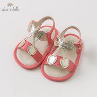 säugling rote sandalen großhandel-Db10247 dave bella sommer baby mädchen sandalen neugeborenen prewalkers säuglingsschuhe mädchen rote sandalen prinzessin schuhe