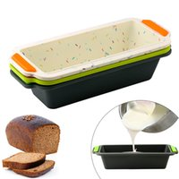 Wholesale cake sticks baking tray resale online - Rectangular Silicone Bread Pan Mold Toast Bread Mold Cake Tray Long Square Cake Mould Bakeware Non stick Baking Tools