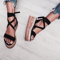 su geçirmez sandalet kadın toptan satış-Kadınlar Yaz Ayakkabı Sandalet Bilek Kayışı Kalın Dipli Ayakkabı Bayanlar Roman Dantel-up Platformu Dokuma Su geçirmez Kama Sandalet