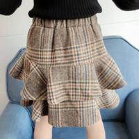 Retail kids  designer clothes girls flounced woolen plaid skirt Classic preppy princess dress pleated skirt Children boutique clothing