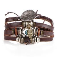 металлические браслеты совы оптовых-Punk Metal Multilayer Leather Owl Evil Eyes  Bracelet Men Vintage Classic Leaves Charm Bracelets Bangles Male Boho Jewelry
