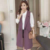 moda elegante de la oficina de las mujeres coreanas al por mayor-2019 Nueva Primavera Elegante Púrpura Chaleco de la Mujer Señora de la Oficina Coreana Chaqueta Sin Mangas Larga Moda Negro Escudo Femenino Veste Femme