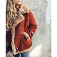 ingrosso cappotti di scamosciati faux-Donne più di formato Bomber Giacche pelle scamosciata del Faux Fur Coats caldo pile cappotti di lana di agnello delle signore di inverno risvolto Moto Giacche Zipper cappotto