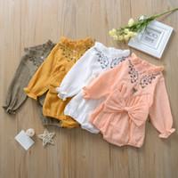 Wholesale infant linens resale online - Newborn Romper Baby Designer Clothes Infant Baby Girl Big Bow Long Sleeves Cotton Linen Jumpsuit Girls Lace Mandarin Collar Romper Clothing