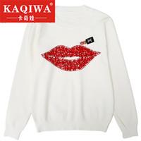 свитера для губ оптовых-Harajuku 2018 Women Sweater Autumn Winter 2018  Designer Hand Made Diamonds Red Lips Sequined Tops Female Lipstick Knit