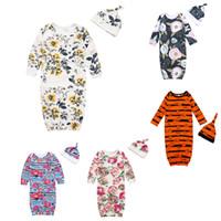 Wholesale baby sleep vest for sale - Group buy Newborn Baby Sleeping Bag Halloween Theme Color Long Sleeve Striped Little Floral Pajamas Baby Anti Kick Warm Sleeping Bag Hat Set