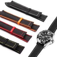 gelbe lederuhren großhandel-Uhrenarmband aus Leder mit Carvas-Gewebe aus Leder für Omega-Uhr 20mm 22mm Herrenriemen Kalbsleder Schwarz Orange Rot Gelb mit Werkzeug