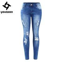 tamaño 26 mujeres jeans ajustados al por mayor-2016 Youaxon Eu Tamaño Ripped Fading Jeans Women `s Plus Size Stretchy Denim Skinny Jeans desgastados para mujeres Jean pantalones lápiz Y190429
