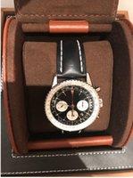 relojes de lujo navitimer al por mayor-Lujo NUEVO 46mm Navitimer Acero Reloj Automático Para Hombre B01 Sin Trabajo Chronographo Retrógrado Fecha Hombres de Cuero Mecánicos Relojes de los hombres