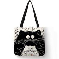 schwarze arbeitstasche frauen groihandel-Einfache Art-Frauen-Handtaschen-Karikatur-nette schwarze Katzen-Druck-Umhängetasche Eco Leinen-praktische nützliche Einkaufsarbeits-Dame Tote Bags