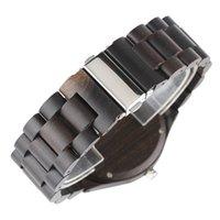 handgemachte hölzerne geschenke für männer großhandel-Männer Uhren Business Handmade Holz Uhren Durable Quarz Holzuhr Umweltschutz Casual Ebenholz Uhr Männliche Geschenke