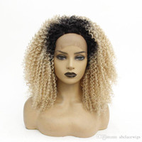 Wholesale kinky curl synthetic lace front wig for sale - Group buy Two Tone Black Ombre Blonde Afro Kinky Curl Lace Front Wig Natural Soft Cheap Synthetic Wigs for Women