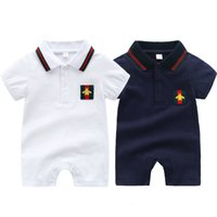 Wholesale baby winter romper patterns for sale - Group buy New bee pattern baby clothes short sleeve summer kids boy romper turn down collar baby boy romper m