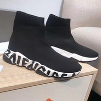 baskets de créateurs de mode achat en gros de-Nouveau Hommes Femmes Sock Chaussures de sport technique 3D tricot Sock comme Blanc Baskets Chaussures Designer Black Fashion Graffiti Sole Casual Shoes Taille US5-11