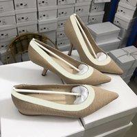 zapatos de vestir de la cinta al por mayor-2019 mujeres del diseñador de moda los zapatos más nuevos tacones altos 9.5cm letras desnuda Negro cinta del acoplamiento de los pies en punta zapatos de vestir de cuero genuino 5-42 Bombas