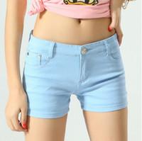desgaste das mulheres coreanas das calças de brim venda por atacado-Zogaa Estilo Coreano Mulheres Denim Shorts Do Vintage Cintura Mid Cuffed Jeans Shorts Street Wear Sexy Verão Doce Cor