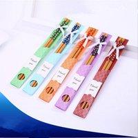 favores de palillos al por mayor-Palillos de bambú práctico Palillo natural fibrosidad nuevo estilo palillos boda personalizada favores de los sorteos de regalos de recuerdo EEA903-3