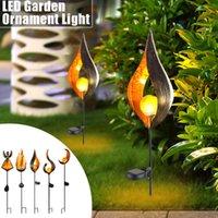 ingrosso luce del cortile principale-Lampada a fiamma a LED Luci da terra solari Lampada da giardino impermeabile Decorazioni da giardino Cortile esterno Ornamenti Luci a percorso solare