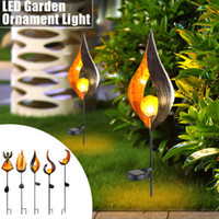 ingrosso ornamenti del giardino del prato-LED Flame Lamp Solar Ground Lights Impermeabile Lampada da giardino Garden Decor Outdoor Yard Scene Ornament Solar Powered Path Lights