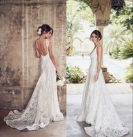 Wholesale custom plus size wedding dresses online - Newest Full Lace A line Wedding Dresses Sexy Backless V Neck Beach Bohemian Boho Plus Size Bridal Gown