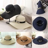 Wholesale black white floppy sun hat resale online - Wide Large Brim Straw Cap Summer Beach Women Lady Travel Floppy Sun Hat Foldable