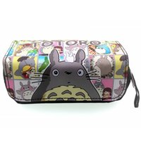 Wholesale cute girl pencil case resale online - Japanese Cute Cartoon Totoro Pencil Bag Lovely Cat Style Stationery Pen Pencil Organizer Purse Girls Lady Woman PU Cosmetic Case