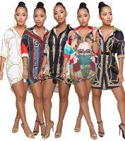frauen halbe hemden großhandel-Mini Shirt Kleider Getäfelten Druck Luxus Design Lose Kleid Halbe Ärmel Tiefem V-ausschnitt Sexy Kleid Womens Print Shirt Kleider