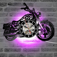 Wholesale wall rider resale online - 3D Creative Classic Vinyl Record Clock Motorcycle Fans Gift Hollow Motorcycle Shape Wall Art Motorcycle Rider LED Clock Y200109