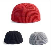 iplik şapkaları toptan satış-Kış Sıcak Örme Skullcap Rahat Kısa Iplik Hip Hop Şapka Yetişkin Erkekler Beanie Yün Örme Kasketleri Kafatası Kap Elastik Şapkalar Unisex