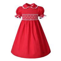 красные платья для девочек-малыша оптовых-Pettigirl Красный с короткими рукавами Кукла Воротник Платья для Малышей Девочки Платье Копченая Детская одежда G-DMGD009-A160