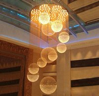 ingrosso ha condotto la sfera chiara-Grande lampadario di cristallo di luce goccia della pioggia Sfera di cristallo del soffitto Modern Light Fixture lungo cristallo della scala lampada da incasso Scale Lights