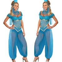 ingrosso gelsomino aladino-Belly Sexy Ladies Aladdin Principessa Jasmine Genie ballo del costume del vestito operato BlueMX190921MX190921