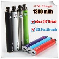 cargadores de batería para micro usb al por mayor-Auténtica batería de ego UGO-V3 III 1300 mAh Vape Pen EVOD Micro USB Passthrough ECig Charger en la parte inferior 510 batería con cargador