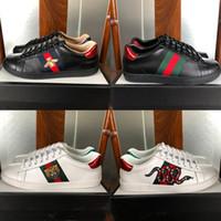 sapatos listrados brancos pretos venda por atacado-Com Caixa Bordado Listrado Cobra Abelha Branco Preto Designer de Sapatos De Couro Genuíno Para Homens Mulheres de Luxo Sapatilhas Sapatos Casuais Tamanho 35-46