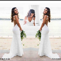 Wholesale mermaid style bridal gowns resale online - Sexy Beach Country Style Lace Mermaid Wedding Dresses Boho Backless Deep V Neck Backless Wedding Dress Cheap Bridal Gowns Simple Wear