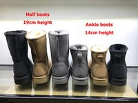 botas de 14cm al por mayor-Código 237 Piel de oveja cálida y lana real Impermeable 14cm 19cm Altura Botas de nieve para mujer Suela de EVA Zapatos de mujer de invierno Alta calidad