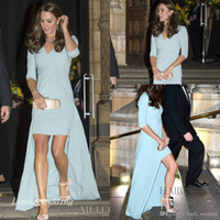 ingrosso blu jenny-Jenny Packham Kate Middleton Sky Blue Abito da sera High Low Celebrity Dress Formal Prom Party Gown