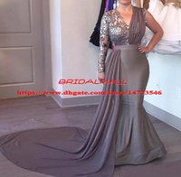 Wholesale mother court dress resale online - One Shoulder Gray Satin Mermaid Evening Dresses With Sash Long Sleeves Formal Party Gowns Illusion Bodice Long Mother of The Bride Dress