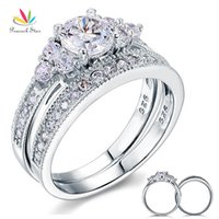 Wholesale three stone engagement ring sets for sale - Group buy Peacock Star Vintage Style Ct Sterling Silver Pc Wedding Anniversary Engagement Ring Set Jewelry CFR8102