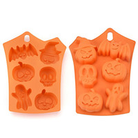 Wholesale halloween chocolate molds resale online - Halloween Silicone Baking Molds Nonstick Cake Molds Muffin Mold Pumpkin Bat Skull Ghost Shape Ice Cookies Chocolate Mold MMA2563