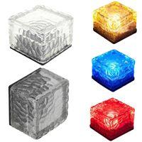 Wholesale blue ice cubes resale online - Lawn lamp LED Solar landscape lights Ice cube LED Solar energy underground solar lights underground lamp lighting sensor