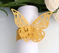 kelebek peçete tutucuları toptan satış-2019 Oymak Kelebek Inci Kağıt Peçete Halkaları Havlu Toka Serviette Tutucu Düğün Ziyafet Yemeği Masa Dekorasyon