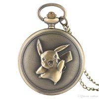 klasik tasarım kuvarslı saat toptan satış-Yeni Varış Bronz Sevimli Pikachu Tasarım Tema Kuvars Pocket Watch Çocuk Doğum Günü Hediyesi Vintage Kolye Saat Erkek Kız için