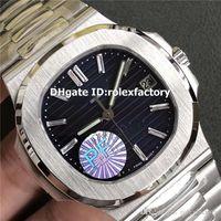 cristal de diamante suizo al por mayor-PF New Luxury 5711 Reloj para hombre de acero inoxidable Dial azul suizo 324SC Movimiento automático 28800bph Diamantes Marcadores Cristal de zafiro