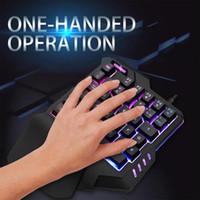 klavye aydınlatması toptan satış-G92 Büyük El Istirahat Makro Kayıt Solunum Işık Tek Elle Kablolu RGB Arka Işık Metal Arka Kapak Oyun Klavyesi PC için