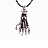 Wholesale skull head chain for sale - Group buy 10pcs New Fashion Personality Skull head Ghost Claw charm Pendant Leather rope necklace Men s clavicle necklace A d