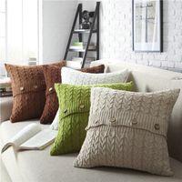 almofadas de malha venda por atacado-Estilos malha Natal fronha Knitting INS Sofá Car fronha Crochet Botão 45 * 45 centímetros Início Pillowcase Decor
