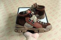 hochwertige wanderschuhe großhandel-Hochwertiger Luxus-Flashtrek-High-Top-Sneaker aus hochwertigem, echtem Leder, übergroße Wanderschuhe für Herren und Damen Designer-Stiefel Stiefel 35-45