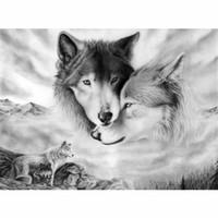 rahmen wolf bild großhandel-CHUNXIA Gerahmte DIY Malen Nach Zahlen Tiere Wolf Acrylgemälde Moderne Bild Wohnkultur Für Wohnzimmer 40x50 cm RA3228