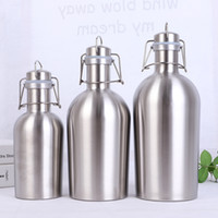 Wholesale bottle swing for sale - Group buy 2L oz Hip Flask stainless steel Beer Growler with Flip Top Big capacity Liter beer bottle with swing top L single wall beer barrel keg